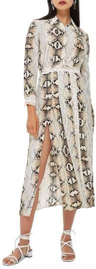 Topshop Snake Print Pleated Shirtdress