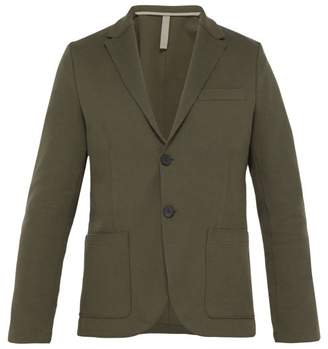 Harris Wharf London Piquet Single Breasted Cotton Blend Blazer - Mens - Dark Green