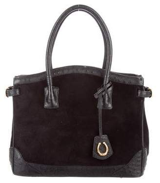 Cece Cord Ostrich-Trimmed Suede Top Handle Bag