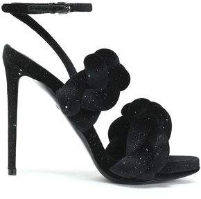 Marco De Vincenzo Braided Glittered Velvet And Leather Sandals
