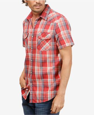 Lucky Brand Men's Dobby Western Plaid Shirt