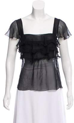 Blumarine Ruffle-Trimmed Short Sleeve Top