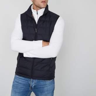 River Island Mens Navy Jack and Jones Premium puffer vest