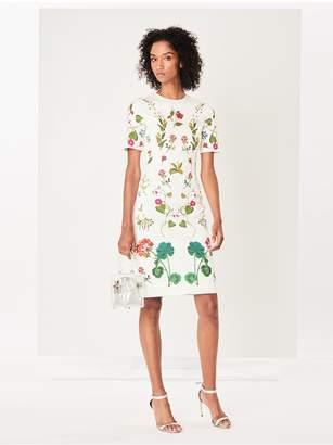 Oscar de la Renta Botanical Print Stretch-Cotton Pencil Dress