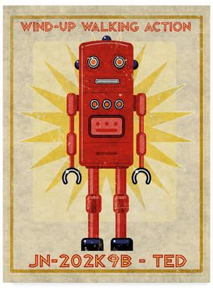 """John W. Golden 'Ted Box Art Robot' Canvas Art - 18"""" x 24"""""""