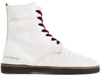 Golden Goose Distressed Leather Ankle Boots - White