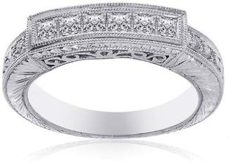 575 Denim 14K White Gold & 0.85ct Diamond Wedding Band Ring Size