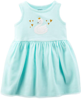 Carter's Turquoise Swan Sleeveless Fit & Flare Dress - Baby Girl NB-24M
