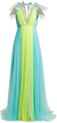 DELPOZO Contrast-panel silk-blend tulle gown