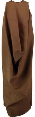 Rick Owens Draped Cotton-Blend Felt Midi Dress