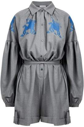 Stella Jean Embroidered Wool-Blend Playsuit