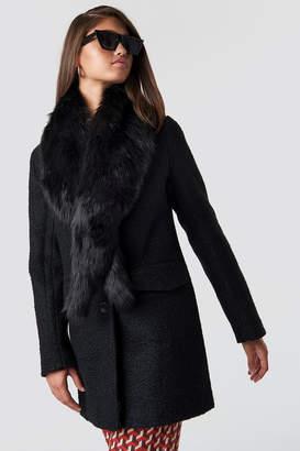 Hannalicious X Na Kd Faux Fur Collar Coat Black