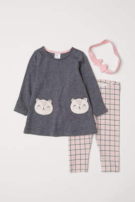 H&M 3-piece Jersey Set - Gray