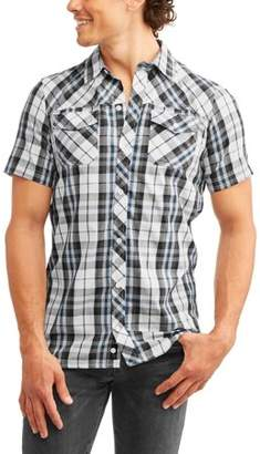 Burnside Men's Short Sleeve Yarn Dye Plaid Woven Shirt