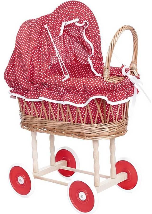 Little Ella James Red Polka Dot Wicker Dolls' Pram