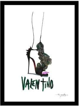 Valentino Luxe West Pink Pedi Fairchild Paris Hand Drawn Print Framed Wall Art