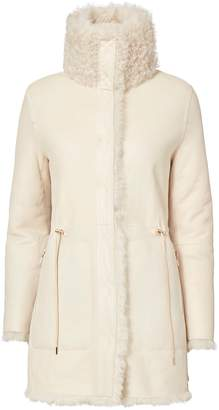 Yves Salomon High Collar Reversible Shearling Jacket