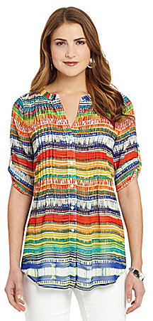 Chaus Geometric-Print Pleated Blouse