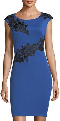 JAX Cap-Sleeve Lace-Appliqué Sheath Dress $99 thestylecure.com