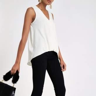 River Island Cream wrap tuck front sleeveless blouse
