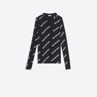 Balenciaga Ribbed knit long sleeves logo sweater