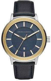 Armani Exchange Quartz Leather Strap Goldtone Maddox Watch