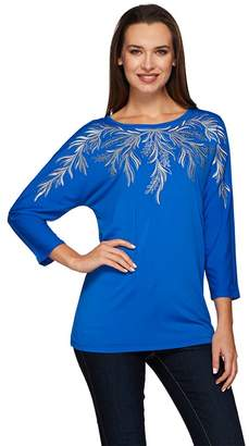 Bob Mackie Bob Mackie's 3/4 Dolman Sleeve Embroidered Knit Top