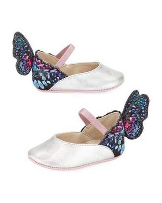Sophia Webster Chiara Leather-Trim Butterfly Mary Jane Flats, Baby