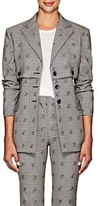 Altuzarra Women's Neil Floral-Checked Wool-Blend Blazer - Gray