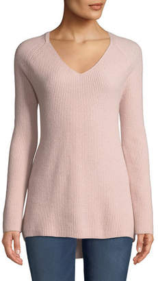 Neiman Marcus Shaker-Stitched Cashmere V-Neck Sweater