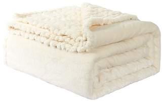 "BEIGE Unique Bargains Flannel Fleece Blanket Super Soft Warm Reversible Throw for Sofa Beige, 51"" x 69"""