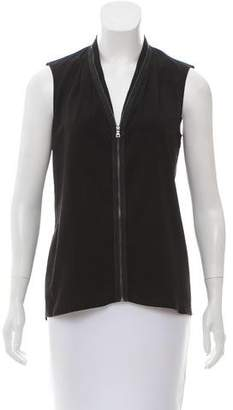 Tahari Zip Front Sleeveless Top