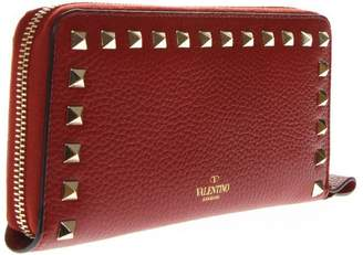 Valentino Rockstud Red Leather Wallet