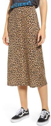 GOOD LUCK GEM Ribbed Leopard Print Midi Skirt