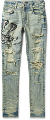Mx1 Skinny-Fit Appliqued Faux Snake-Panelled Distressed Stretch-Denim Jeans