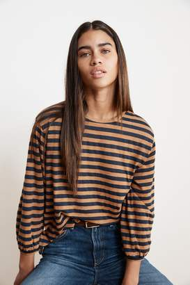 Velvet by Graham & Spencer ZOELLE SLUB KNIT STRIPE CUFFED SLEEVE TEE