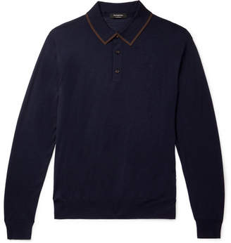 Ermenegildo Zegna Leggerissimo Contrast-Tipped Wool and Silk-Blend Polo Shirt - Navy