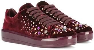 Prada Embellished velvet sneakers