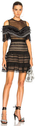Self-Portrait Stripe Paneled Lace Dress