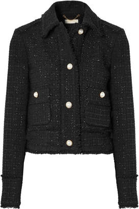 MICHAEL Michael Kors Cropped Frayed Metallic Wool-blend Tweed Jacket - Black
