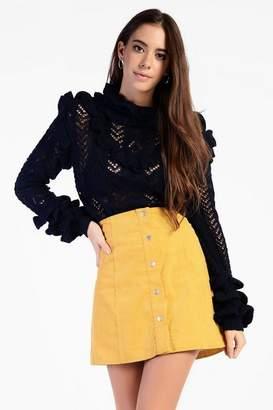 Glamorous **Corduroy Button Front Skirt