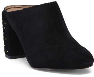Studded Block Heel Suede Mules