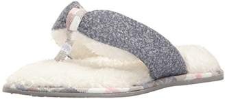 Dearfoams Women's Casual Knit Thong Slipper – Padded Terrycloth Slipper with Rubber Sole and Memory Foam Insole