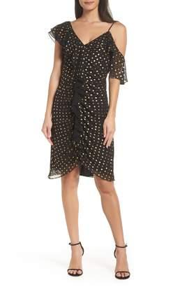 Sam Edelman Metallic Dot Cold Shoulder Sheath Dress