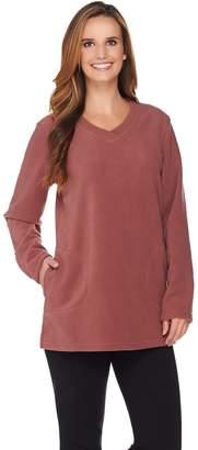 Denim & Co. Active Petite Fleece Tunic with Crossover V Neck Collar