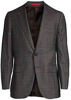 Isaia Men's Classic-Fit Plaid Wool Sportcoat