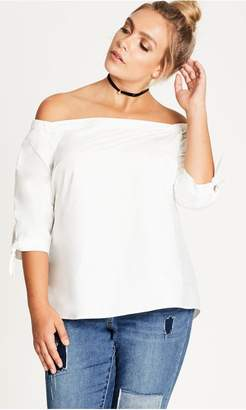 City Chic Citychic Cold Shoulder Shirt - ivory