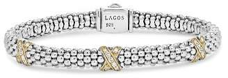 Lagos 18K Gold and Sterling Silver X Collection Diamond Rope Bracelet, 6mm