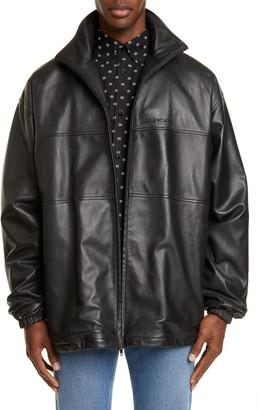 Balenciaga Oversize Lambskin Leather Track Jacket