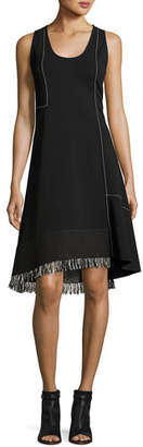 Derek Lam Sleeveless Scoop-Neck A-Line Dress with Fringe, Black